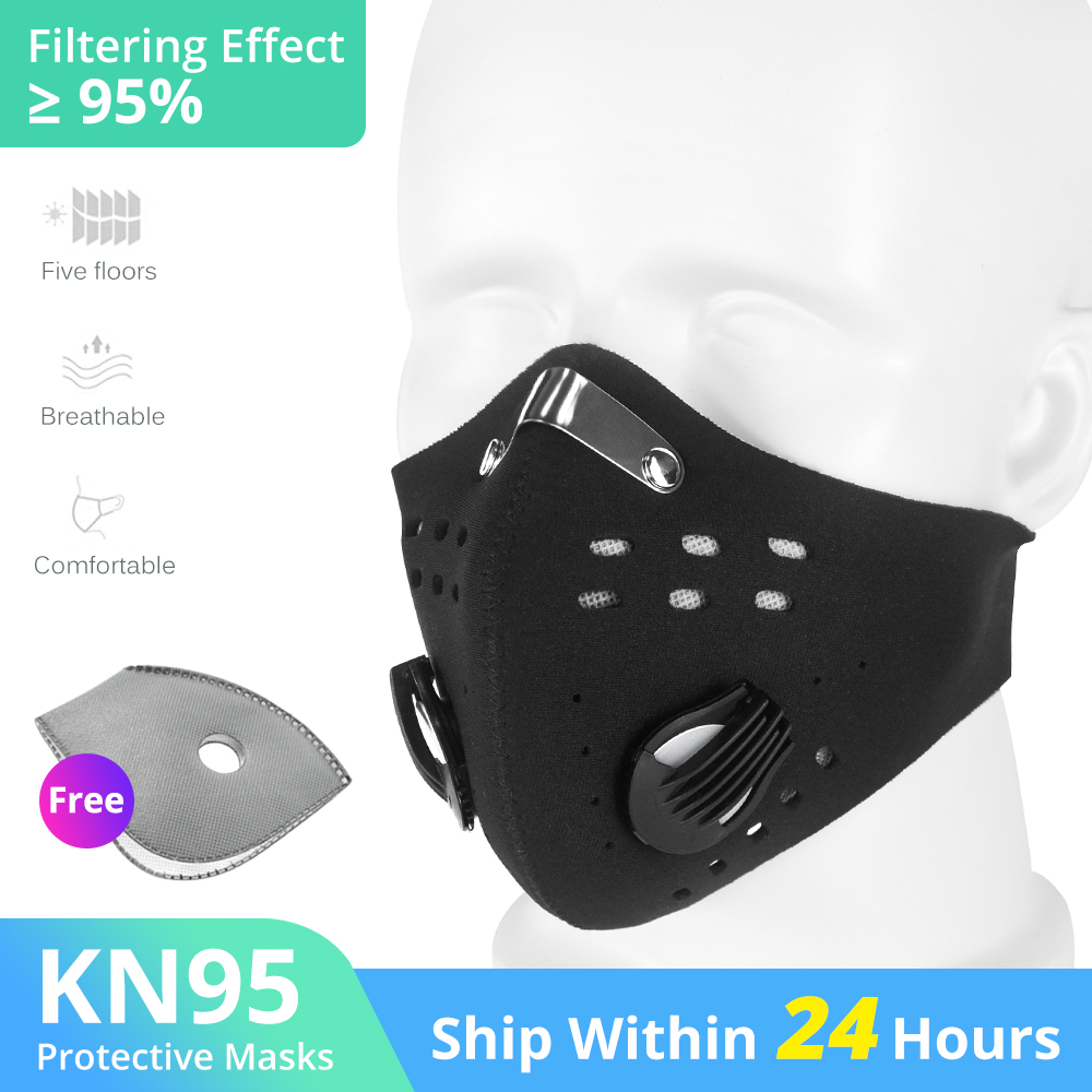 Dust Masks Filter Bicycle PM 2.5 Activated Carbon Breathing Valve Masks With 2 Filter Cycling Face Masks KN95 Anti-Pollution