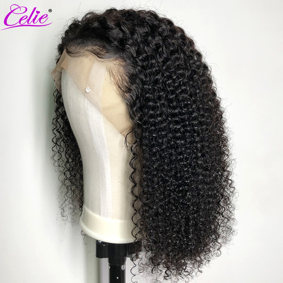 Celie Wigs Human-Hair Curly Glueless Full-Lace Brazilian 200 Density Kinky Pre-Plucked