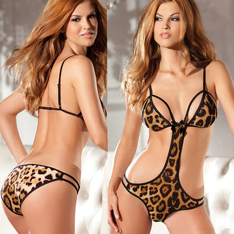 Erotic Leopard Sexy Lingerie Babydoll Women Sexy Costumes Underwear Porno Lenceria One Piece Femme Sex Clothes Intimate Chemise