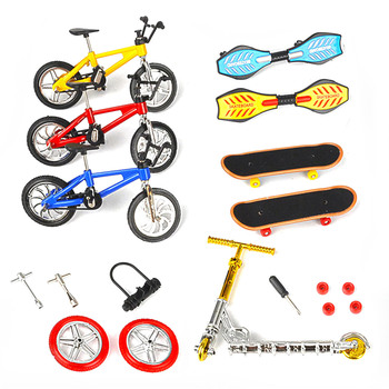 Mini Finger Skateboarding Skate Ramp Parts Set BMX Bicycle Set Fun Skate Boards Mini Bikes Toys For Children Boys Kids Gifts image