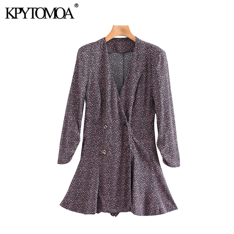 KPYTOMOA Women 2020 Chic Fashion Double Breasted Printed Blazer Playsuits Vintage V Neck Long Sleeve Female Short Jumpsuits