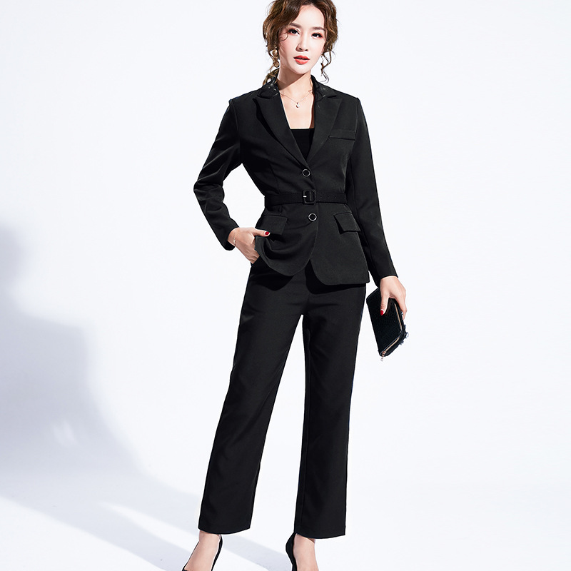 Women's suit 2019 autumn new casual fashion temperament slim slimming solid color single-breasted small suit trousers two-piece 24