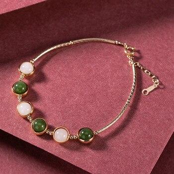 Yiluyin 14K Gold Natural Hotan jade white jade Jasper bead personality simple women's bracelet bracelet