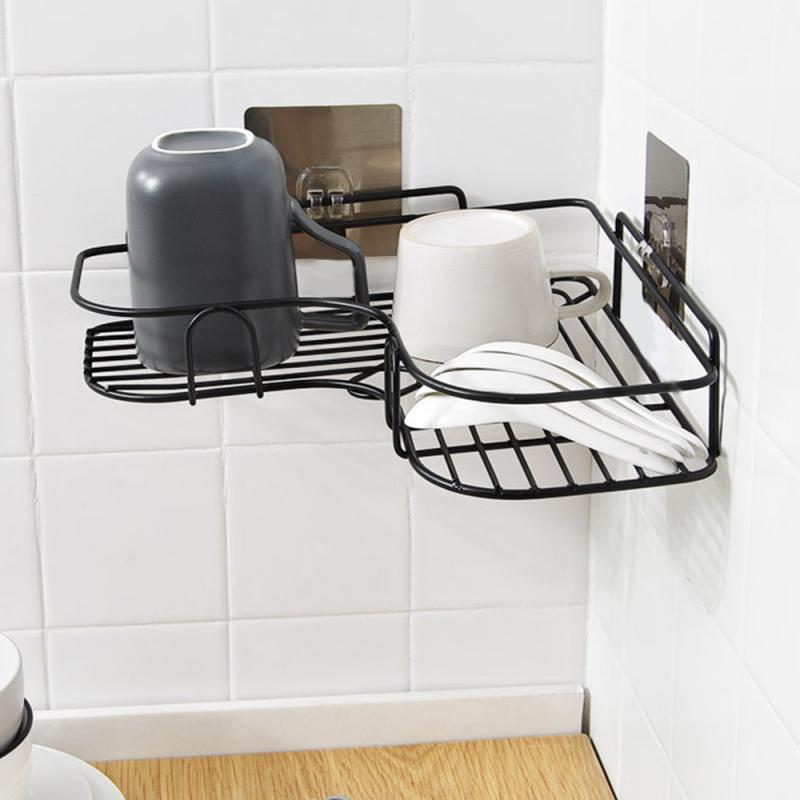 Wall Shelf Bathroom Holder Bathroom Accessories Punch Free Corner Bathroom Shelf Bathroom Iron Storage Rack Kitchen Tripod