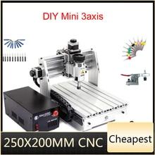 미니 CNC 밀링 머신 2520 cnc 조각 기계 250*200mm 작업 영역 cnc 라우터