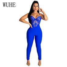 WUHE Sexy Lace Patchwork V Neck Bodycon Jumpsuit Elegant Women Summer Sleeveless Backless Spaghetti Strap Club Party Playsuits