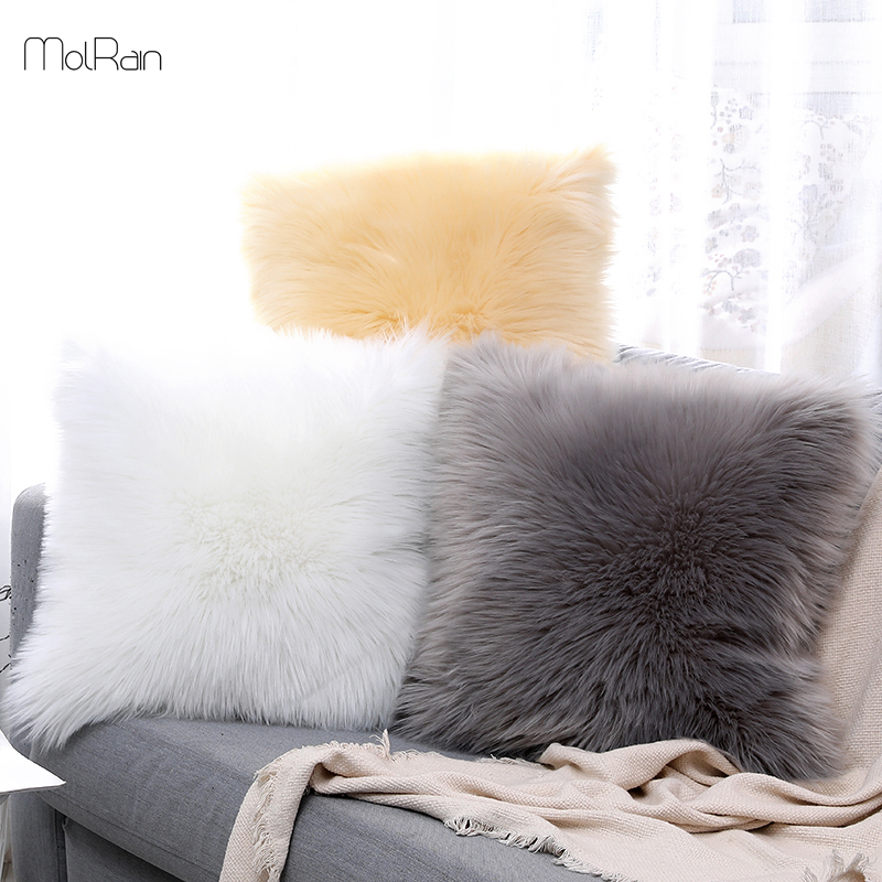 Fluffy Pillow Long Plush Pillowcase Wool Cushions Fur Cushion Cover Ins Sofa Bed Pillows Christmas Decorations Room Throw Pillow Cushion Cover Aliexpress