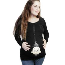 New Cute Pregnant Maternity Clothes Casual Pregnancy T Shirts with Baby Peeking Out Funny Pregnant Women Summer Tees Over-Size(China)