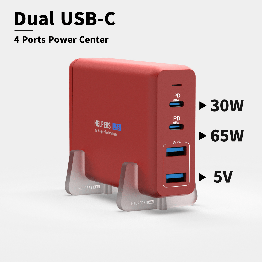 105W Dual USB-C Port 65W & 30W And 5V USB Port ,for Many USB C Phone And Laptop Like IPhone Macbook Pro Dell XPS Asus Etc