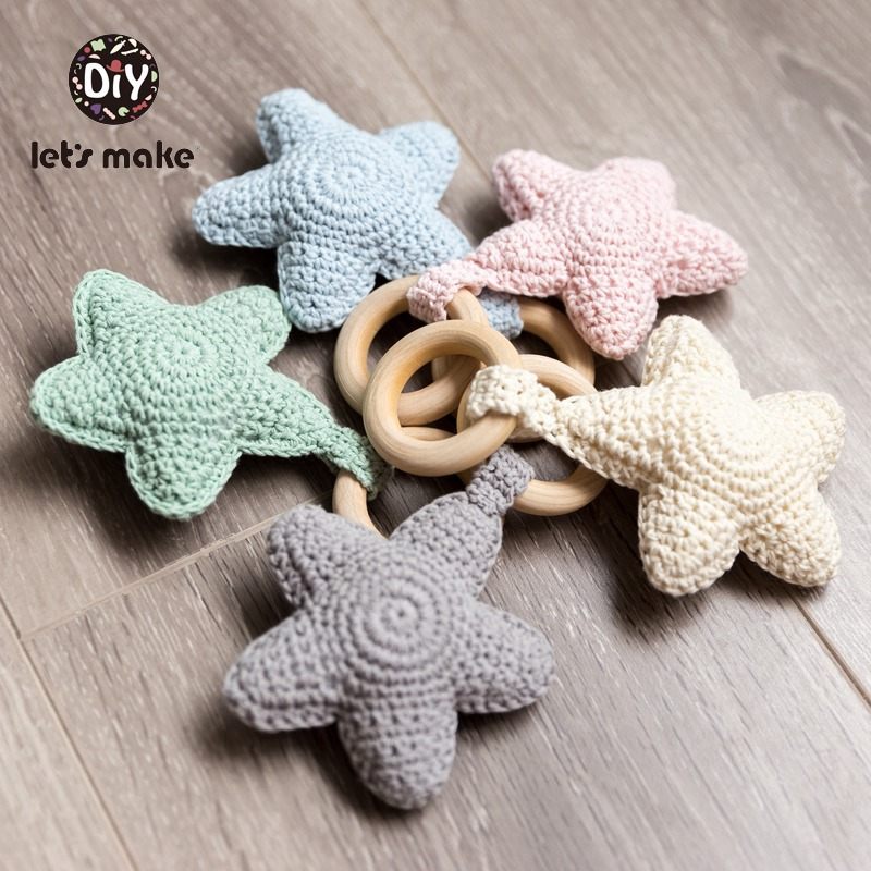 Let's Make Baby Rattle Baby Bed Hanging Rattles Toys DIY Christmas Star BPA Free 1PC Weaving Crochet Wood Cotton Wooden Ring