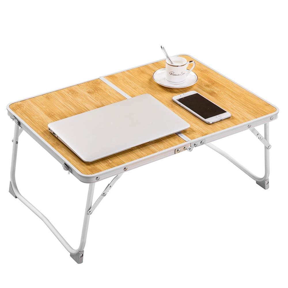 Foldable Laptop Table Lapdesk Breakfast Bed Portable Mini Picnic Bamboo Wood Grain Read Holder For Couch Floor Folding In Half