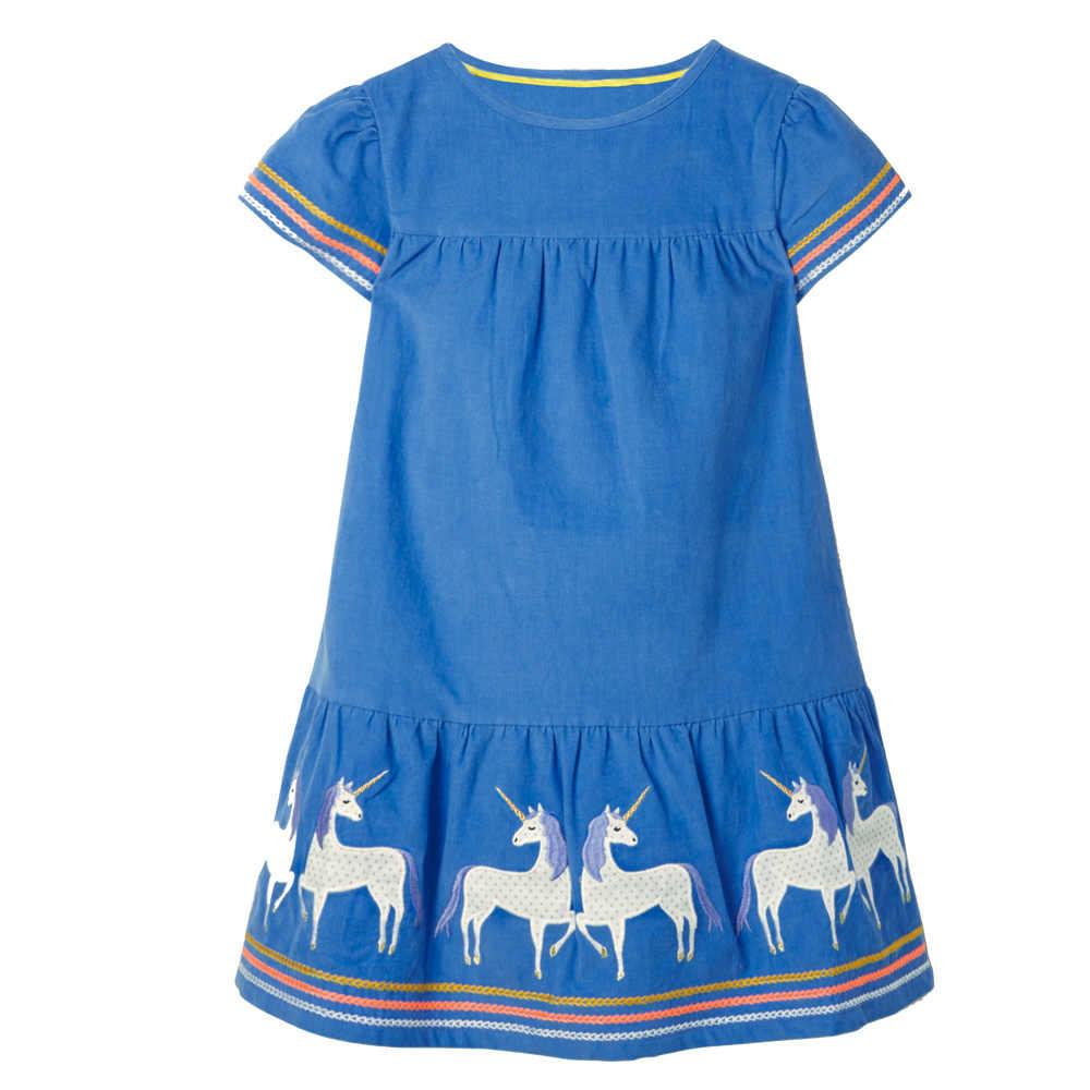 점프 미터 아기 소녀 드레스 동물 패턴 공주 유니콘 드레스 소녀 의상 어린이 파티 드레스 아이 옷 2-7Y