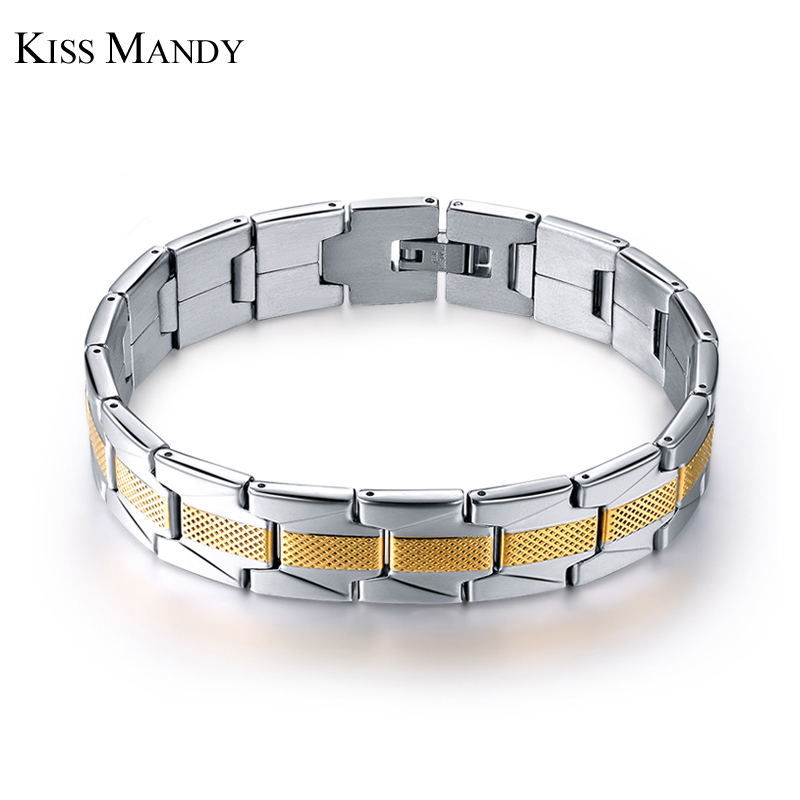 KISS MANDY New Fashion Bracelets Fashion Jewelry For Men Wristband Bangle 316L Stainless Steel Bracelets FB10