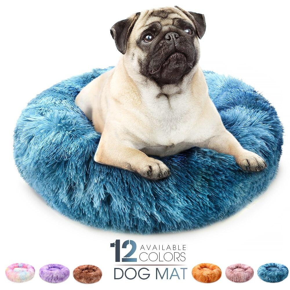 New Super Soft Dog Mat Round Washable Long Plush Dog Kennel Cat House Velvet Mats Sofa For Dog Chihuahua Dog Basket Pet Bed 1