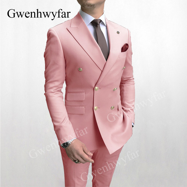 Gwenhwyfar Sky Blue Men Suits Double Breasted 2020 Latest Design Gold Button Groom Wedding Tuxedos Best Costume Homme 2 Pieces 3