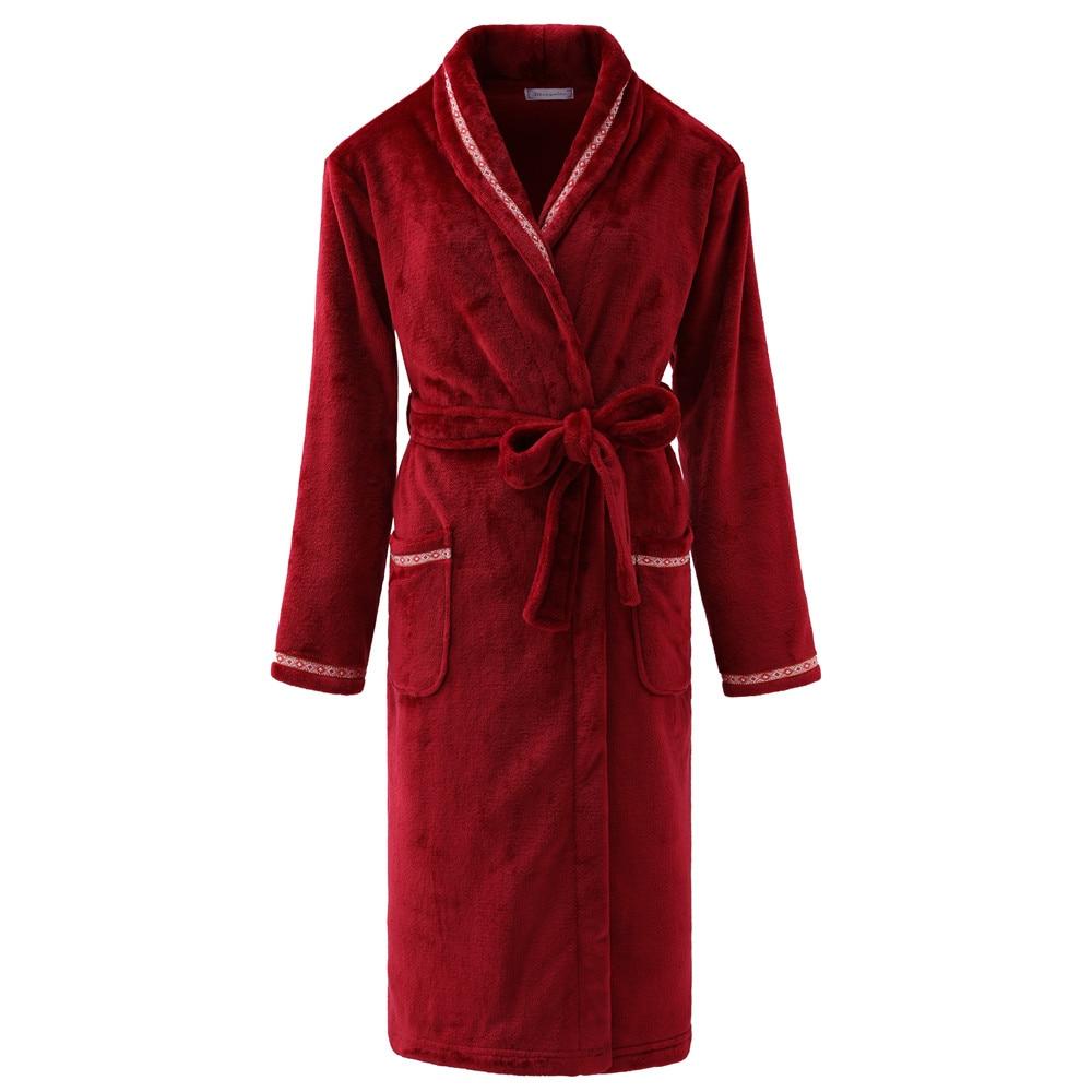 Couple Ultra Long Men&Women Kimono Bathrobe Gown Large Size 3XL Flannel Sleepwear Thick Nightwear Casual Homewear Nightgown