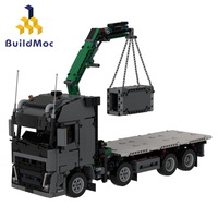 BuildMoc Engineering Bulldozer Crane Technic Truck Building Block City Construction car excavator education Toys For Children