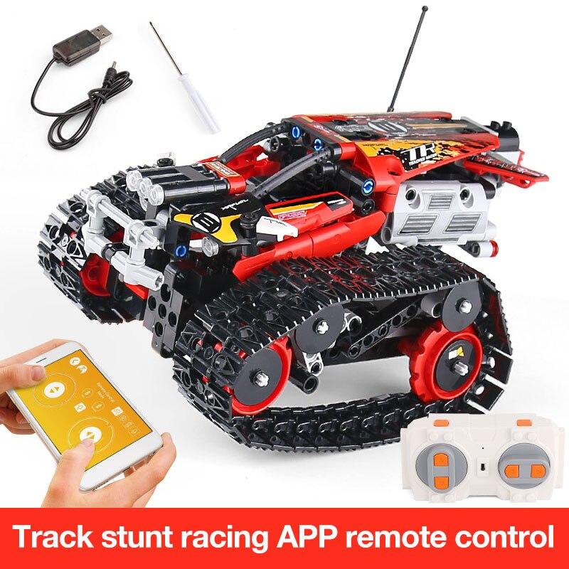 Функция питания от двигателя, Радиоуправляемый гусеничный гонщик, электрический, подходит для автомобиля, Legoing, 42065 скоростной автомобиль, строительный блок, кирпичи, модель, подарок для детей - Цвет: 13036-391pcs