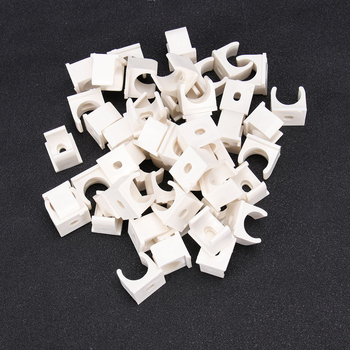 50pcs U Shape 16/20/25/32/40MM PVC Pipe Clamp Fixed Pipe Support Corrosion Resistant Riding Horse Clamp Clasp Hoop Home Hardware image