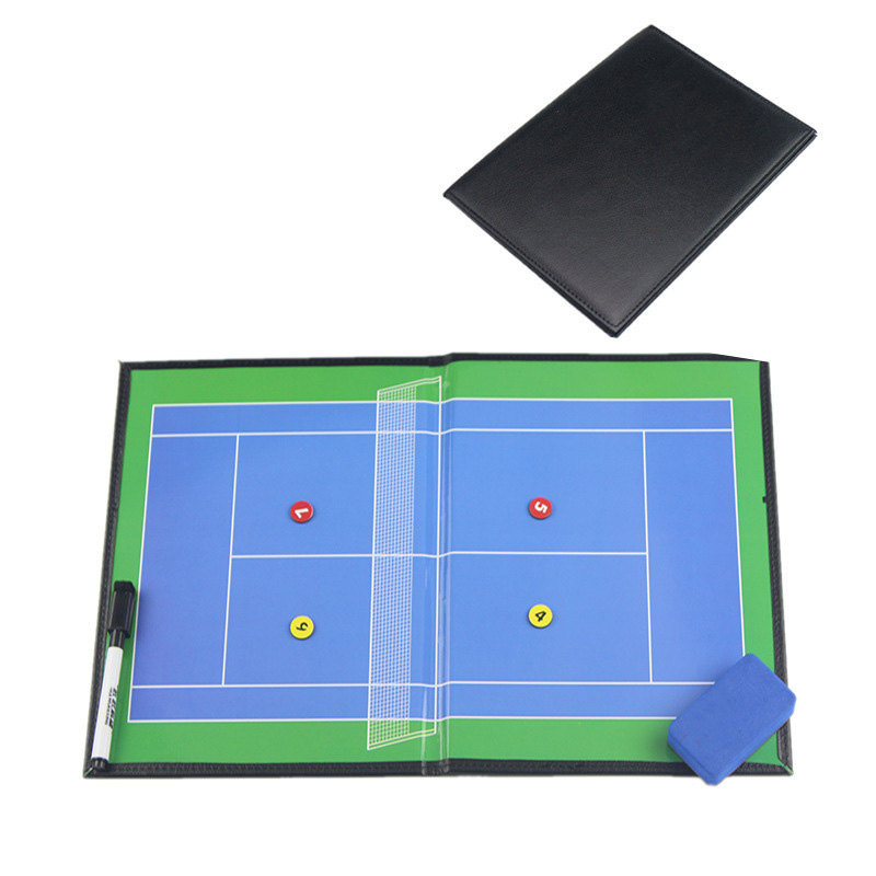 Folding Coaching Tennis Board High Quality Leather Magnetic Tactical Board With Pen Tennis Accessories For Teachers Coaches