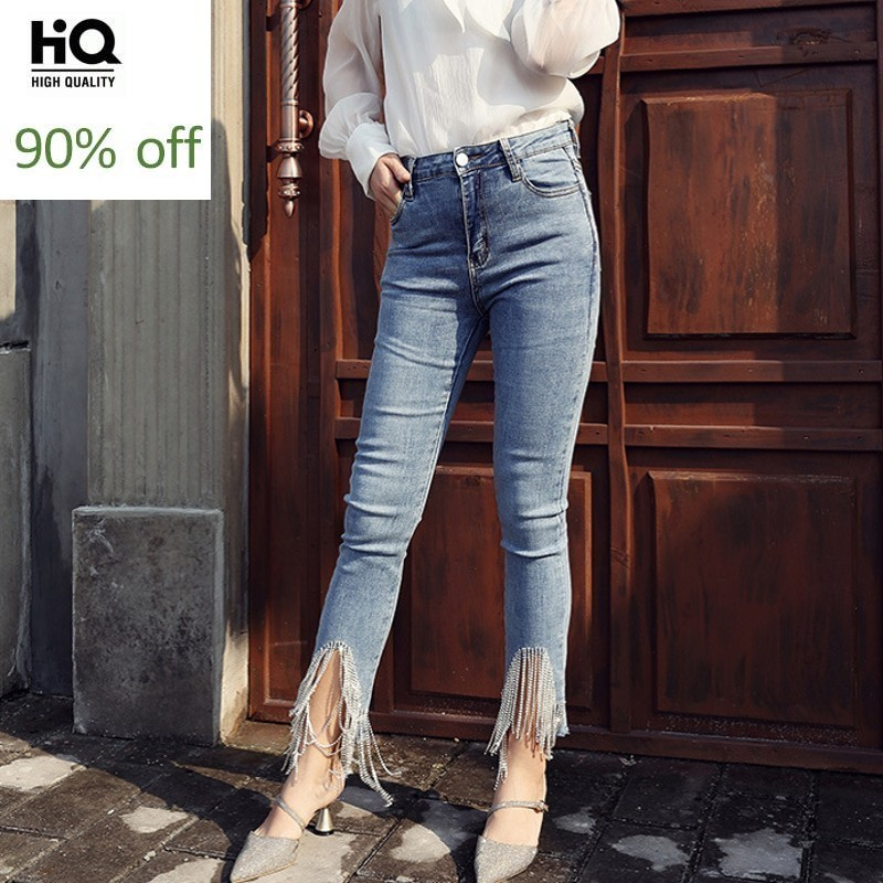 Summer High Waist Tassel Embroidered Flares Womens Jeans New Fashion Ankle Length Slim Fit Stretchy Big Size Ladies Pencil Pants