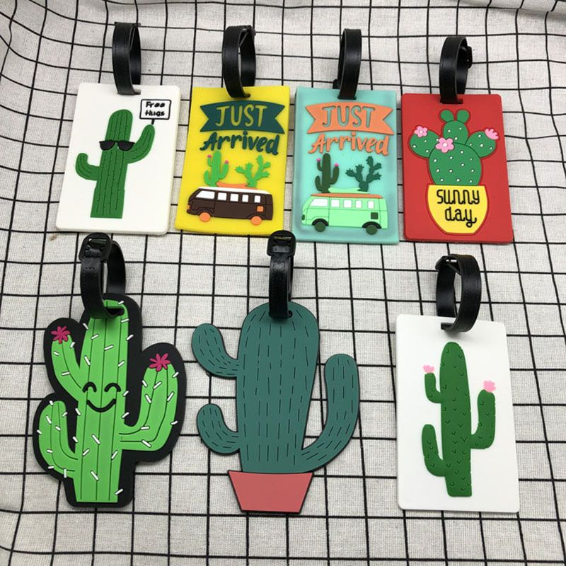 Cartoon Cactus Creative Luggage Tag Silica Gel Fashion Travel Accessories ID Identifier Label Tag Address Holder Travel Design