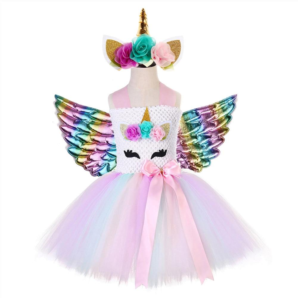 Image 2 - Rainbow Princess Children Unicorn Dress Girl Unicorn Christmas Tutu Dress Flower Girl Party Dress with Unicorn Headband Wing Set-in Dresses from Mother & Kids