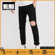 MLMR mannen Lente & Zomer Stretch Black Ripped Broek Broek Mannen Streetwear | 218114564(China)