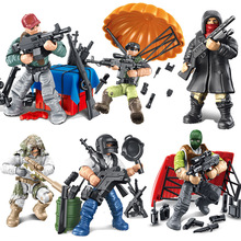 PUBG Eat Chicken Tonight Full Joint Model Building Blocks Soldiers Assault Military Assembling Inserting Block Kids Toys