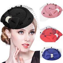 Шляпа-Вуалетка с бантом, женские сетчатые ленты, жемчужные фетровые шляпы, повязка на голову или заколка для коктейля, чая, вечерние головные уборы для девушек и девушек