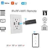 Smart Leben Tuya WiFi RF + IR Universal Fernbedienung USB Form Smart Controller RF Hause Geräte