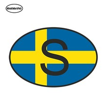 HotMeiNi 13cm x 9.1cm Car Styling S Sweden Country Code Oval With Flag Car Sticker Helmet Laptop Waterproof Bumper Accessories(China)
