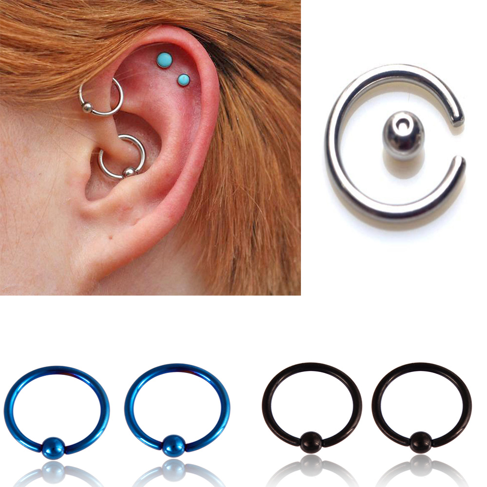 6MM 19MM BCR PIERCING SILVER CBR CAPTIVE RING SEPTUM NOSE EAR NIPPLE STAINLESS