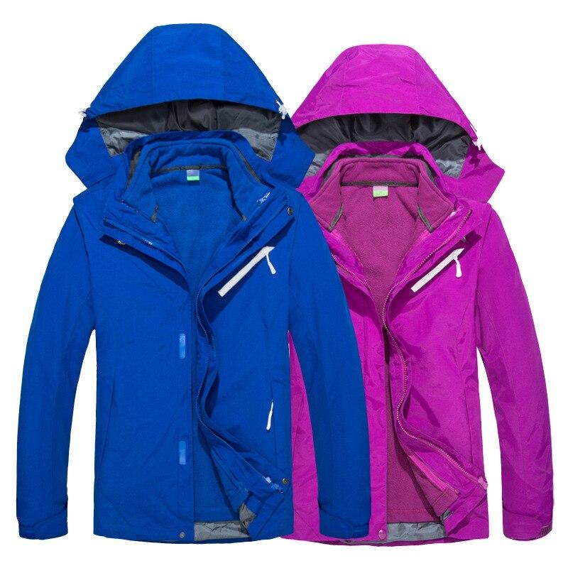 Veste d'extérieur hiver hommes femmes respirant détachable épaissir trois-en-un Taslon deux pièces doux shell Camping randonnée veste