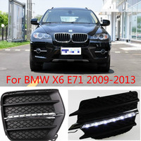1set LED daytime running lights for car accessories BMW X6 E71 2009 2010 2011 2012 2013year X 6 front fog lamp drl bumper light