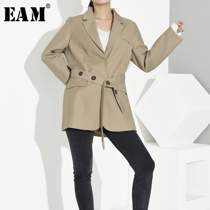 [EAM]  Women Khaki Button Bandage Temperament Blazer New Lapel Long Sleeve Loose Fit  Jacket Fashion Spring Autumn 2020 1B4840