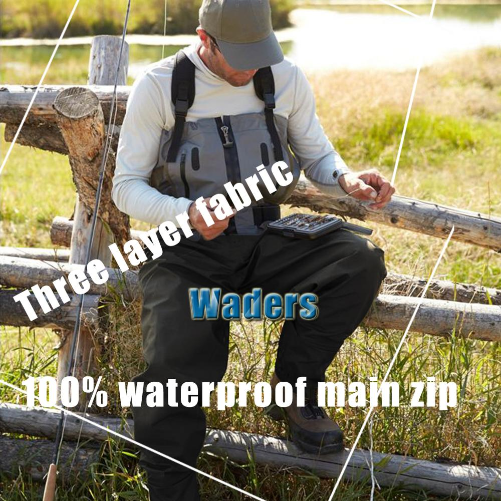 Waders 3-ply Durable Waterproof Breathable Lightweight Fishing Hunting Chest Waders Pants For Men With Neoprene Stockingfoot