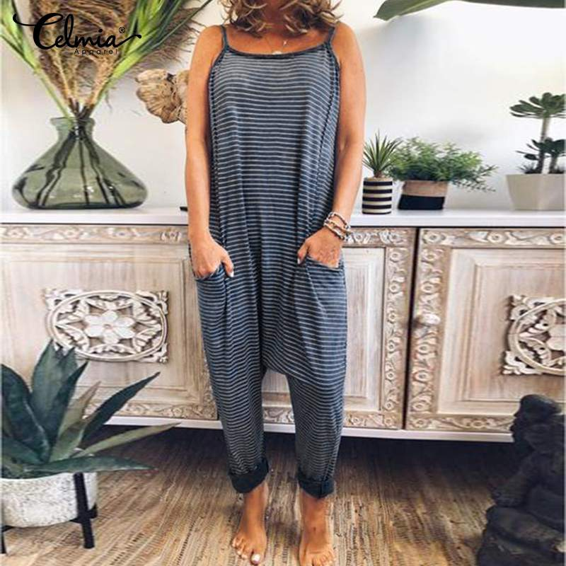 2019 Celmia Women Drop-Crotch Striped Jumpsuits Summer Sleeveless Sexy Spaghetti Strap Rompers Casual Harem Pants Playsuits 5XL