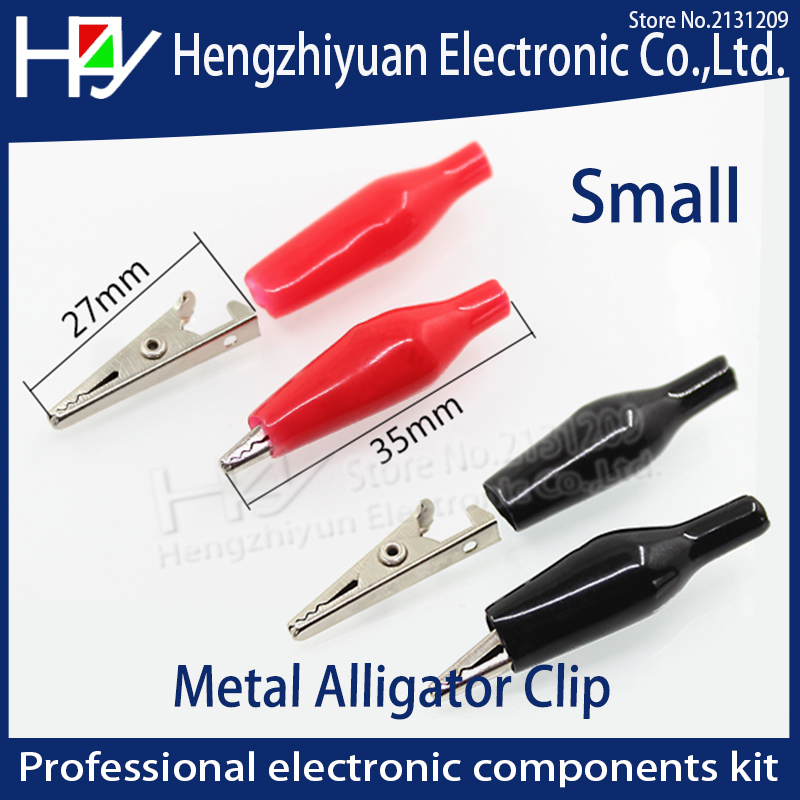 Hzy 20pcs/lot Small 28MM Metal Alligator Clip Crocodile Electrical Clamp for Testing Probe Meter Black and Red with Plastic Boot