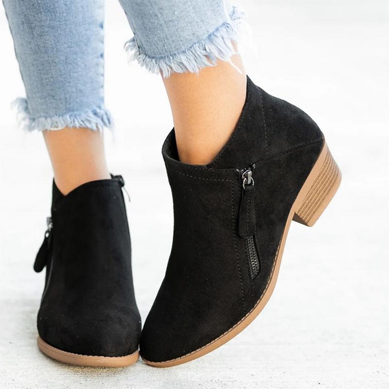 Women Ankle Boots Dropshipping Autumn Low Heels Leopard Boots Platform Sexy Ladies Khaki Pumps Boots Shoes 2020 New Winter