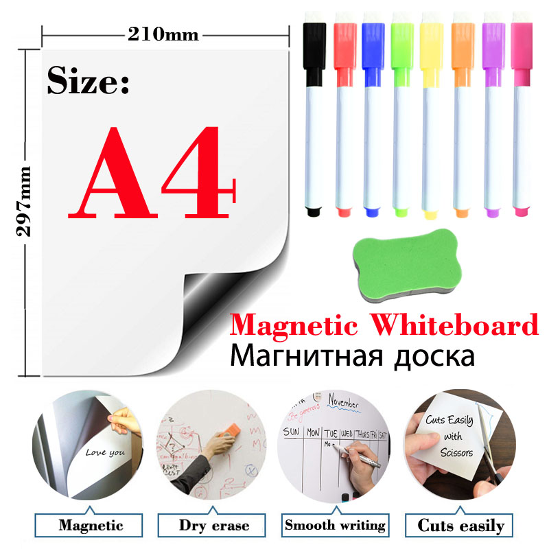 마그네틱 소프트 화이트 보드 냉장고 스티커 지울 수있는 메모 메시지 보드 사무실 교육 연습 쓰기 보드 도어 스티커