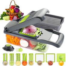 Измельчитель для пищевых продуктов, овощерезка для овощей, фруктов, сыра, лука, измельчитель, резак для томатов, терка, 12 в 1, овощерезка, спир...