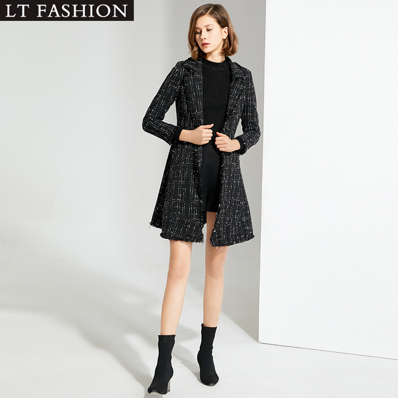 Женская куртка в европейском и американском стиле, новинка 2019, зимнее пальто с небольшим ароматом, клетчатое приталенное пальто с