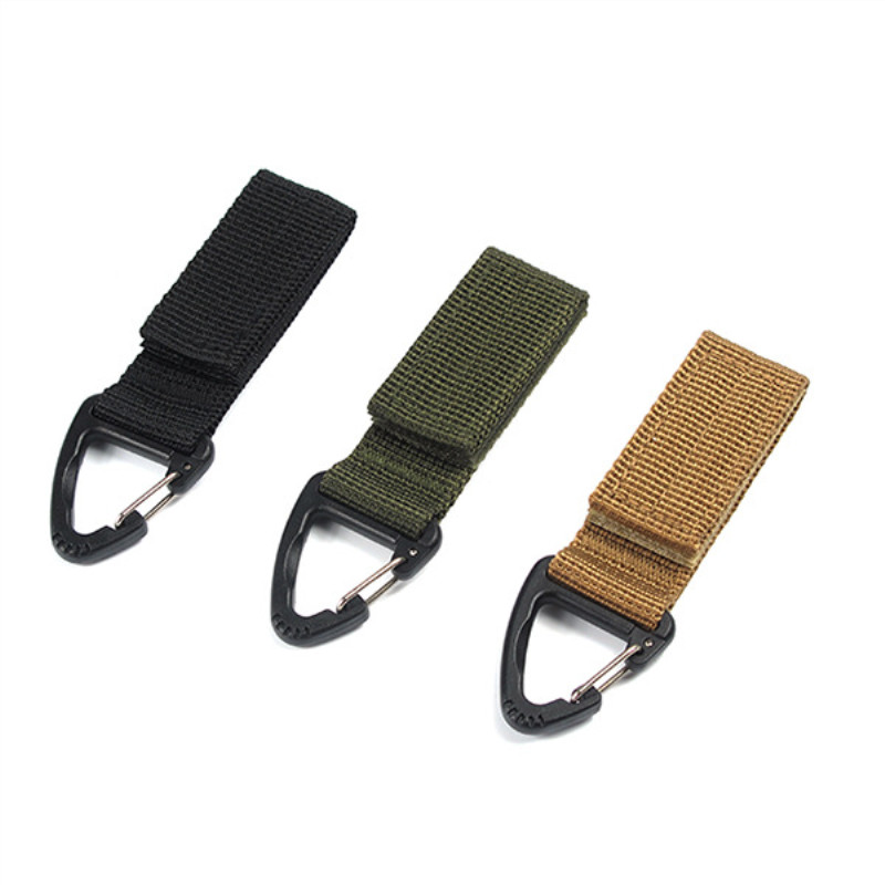 1PC Outdoor Tool Tactical Nylon Ribbon Hanging Bucket Multifunction Carabiner Backpack Key Hook Belt Buckle Camping Accessories