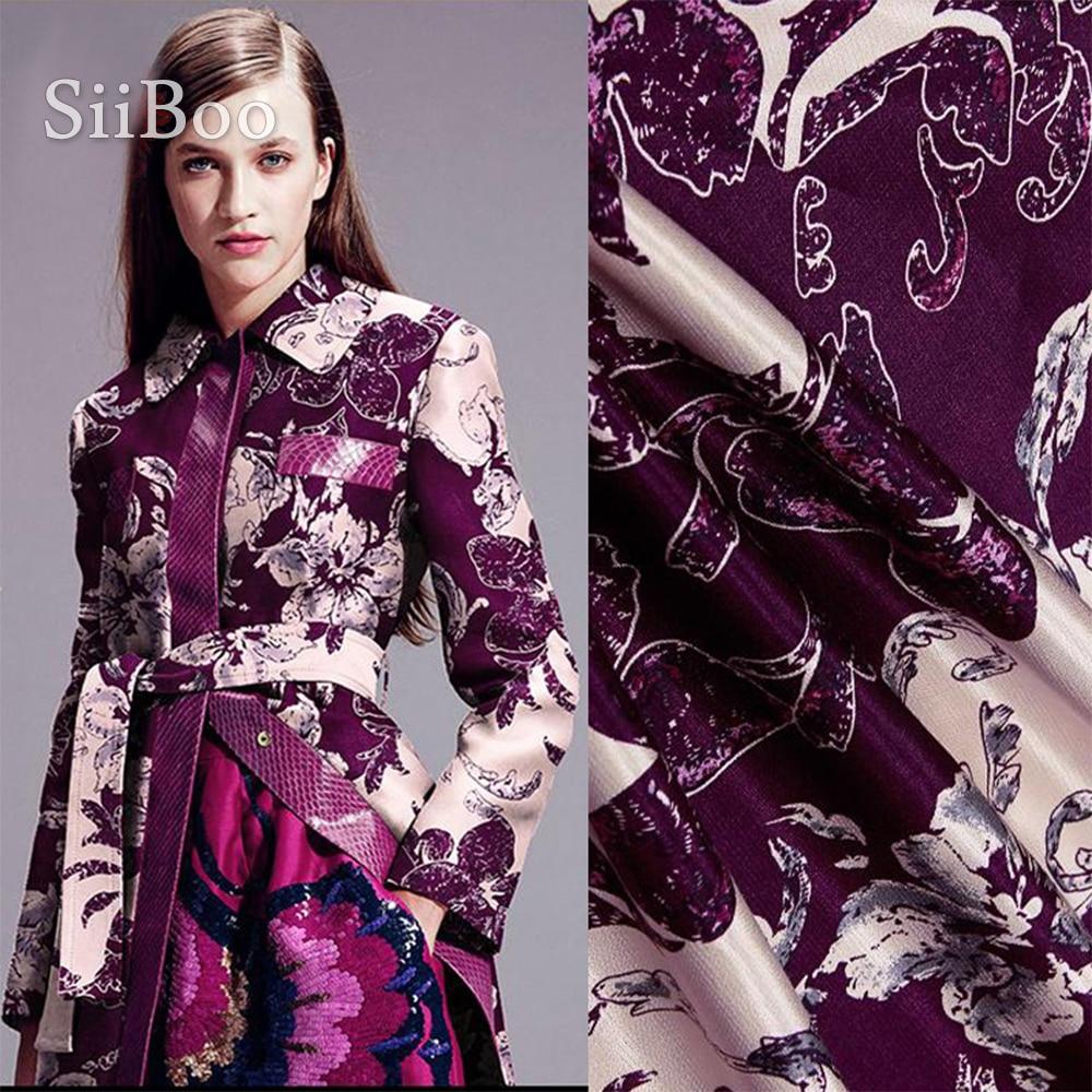 Tissu en lin et soie en coton violet   De haute qualité, style américain, imprimé floral violet, printemps automne manteau, tela, livraison gratuite SP2084