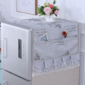 Fyjafon крышка холодильника Кружевной Край ткань пылезащитный чехол вышивка домашний декор крышка с сумкой для хранения 55*135/70*170