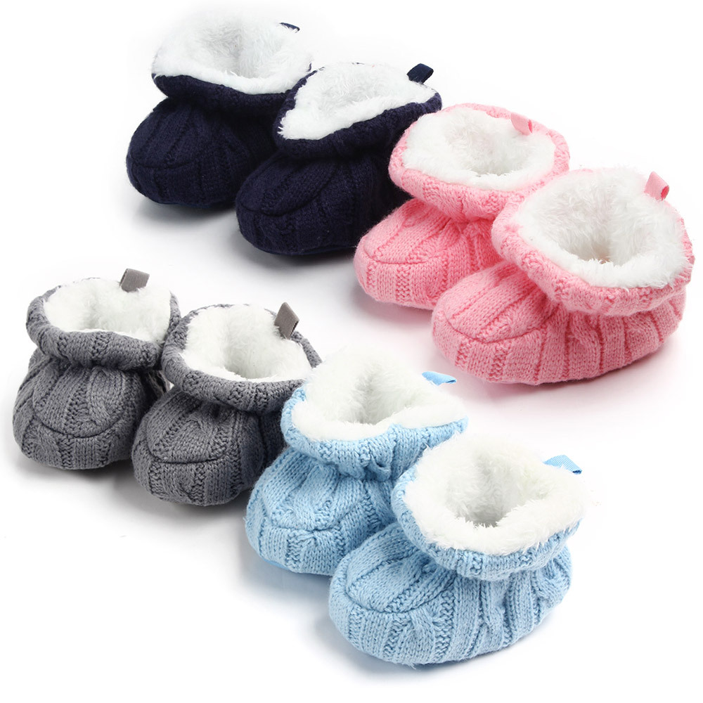 Infant Crochet Knit Baby Shoes For Boys Girls Winter Warm Newborns Soft Soled Footwear First Walkers Toddler Crib Boots