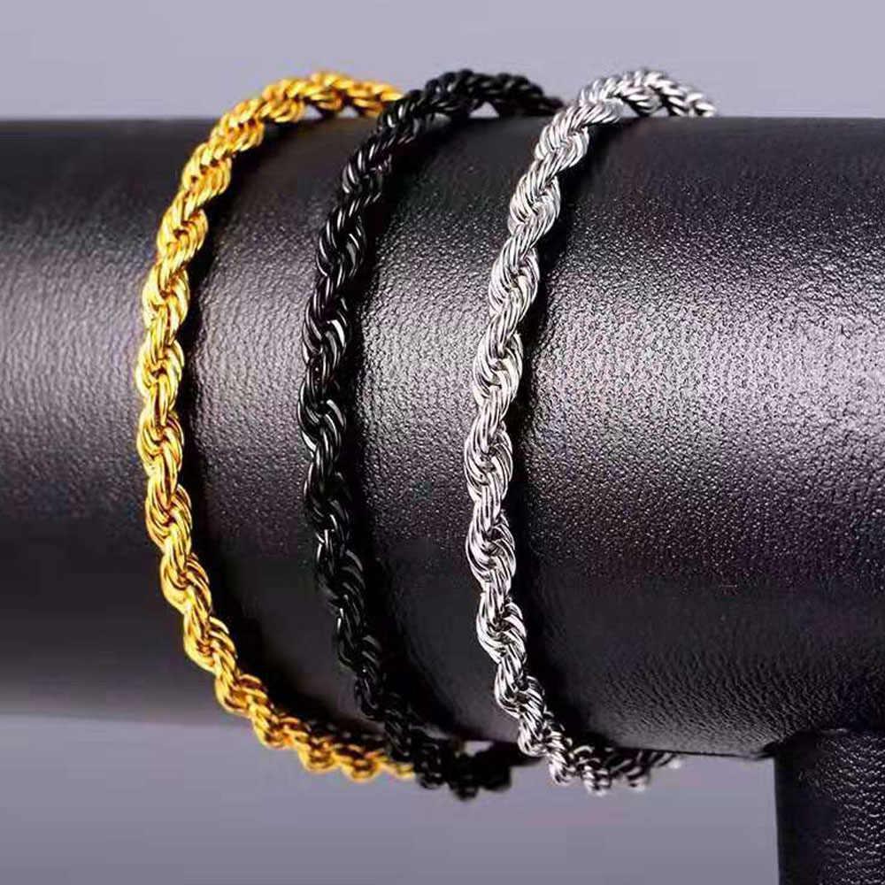 Stal nierdzewna czarne złoto srebro lina kręcona bransoletka łańcuchowa mężczyźni kobiety ręka Link 3/5MM 22CM chłopiec hip Hop prezent biżuteria hurtowych