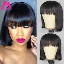 wig with bangs short bob wig brazilian straight human hair wigs with bangs pixie cut wig for black women natural color remy hair hot selling bob wig with side bangs cheap good quality straight short cut wigs for black women