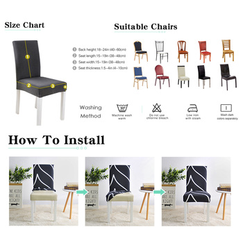 Geometric Print Stretchable Chair Cover For Dining Chairs 5 Chair And Sofa Covers